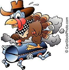Ilustración de vectores de dibujos animados de un pavo de acción de gracias montando un barril de barbacoa BBQ