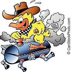 Ilustración de vectores de dibujos animados de un pollo amarillo en un barril de barbacoa BBQ