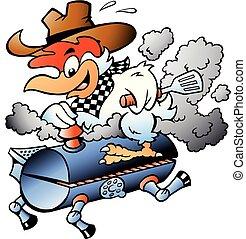 Ilustración de vectores de dibujos animados de un pollo en un barril de barbacoa BBQ