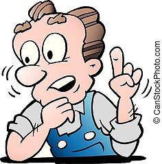 Ilustración de vectores de dibujos animados de un trabajador mayor