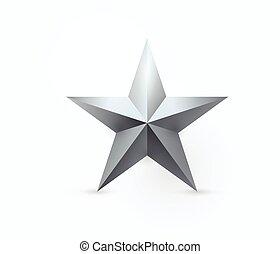 Ilustración de vectores de diseño de estrellas de metal de cinco puntas