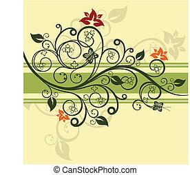 Ilustración de vectores de diseño floral verde