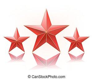 Ilustración de vectores de estrellas rojas seguidas