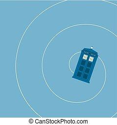 Ilustración de vectores de la cabina de policía británica iluminando el fondo azul, volando