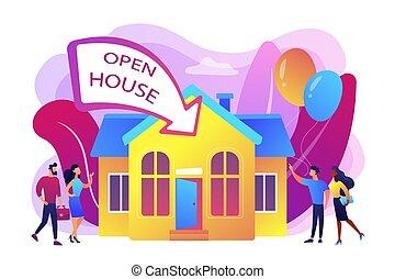 Ilustración de vectores de la casa abierta.