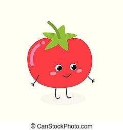 Ilustración de vectores de lindo carácter de tomate