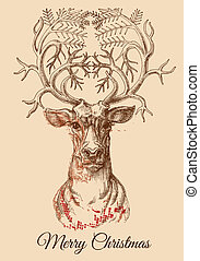 Ilustración de vectores de los ciervos de Navidad