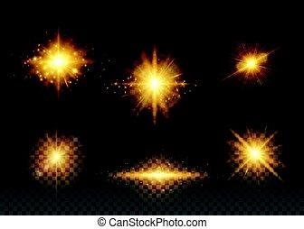 Ilustración de vectores de luces doradas
