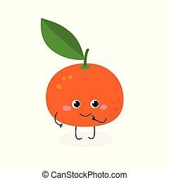 Ilustración de vectores de mandarina de dibujos animados