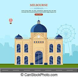 Ilustración de vectores de Melbourne Australia. Cartas famosas