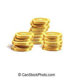 Ilustración de vectores de monedas de oro. Aislado en blanco.