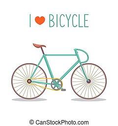 Ilustración de vectores de moto hipster urbana en estilo plano moderno con texto I Love Bicicleta.