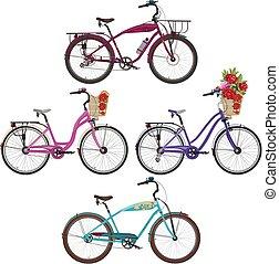 Ilustración de vectores de motos de ciudad en estilo plano