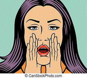 Ilustración de vectores de mujer hermosa llamando a alguien (gritando fuerte) en estilo de arte pop