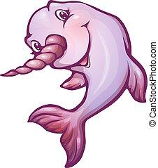 Ilustración de vectores de narval en estilo de dibujos animados