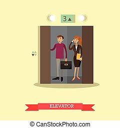 Ilustración de vectores de personas en el ascensor, estilo plano.