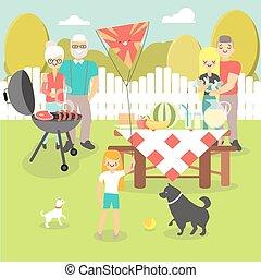 Ilustración de vectores de picnic familiar al estilo plano