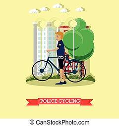 Ilustración de vectores de policía con bicicleta de ciudad en estilo plano