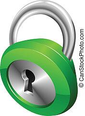 Ilustración de vectores de seguridad verde brillante