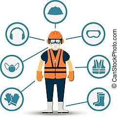 Ilustración de vectores de seguridad y salud