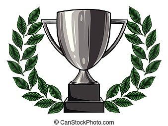 Ilustración de vectores de trofeos y medallas