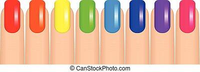 Ilustración de vectores de uñas coloridas