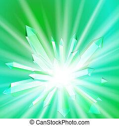 Ilustración de vectores de un cristal con rayos