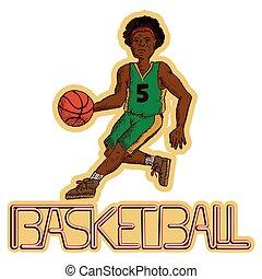 Ilustración de vectores de un jugador de baloncesto con la escritura de baloncesto.eps