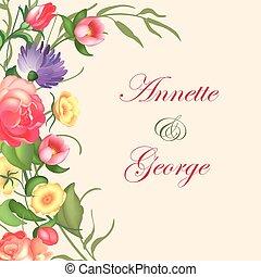 Ilustración de vectores de un marco antiguo en antecedentes florales para invitaciones y tarjetas de cumpleaños.