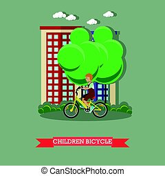 Ilustración de vectores de un niño montando en bicicleta en estilo plano