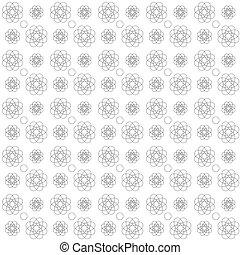 Ilustración de vectores de un patrón de delinear flores y círculos en un fondo blanco arreglado en filas y columnas