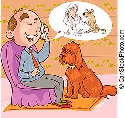Ilustración de vectores de un tipo con un teléfono veterinario