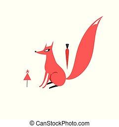 Ilustración de vectores de un Zorro Rojo