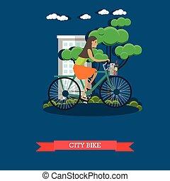 Ilustración de vectores de una chica montando en bicicleta de ciudad, estilo plano