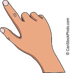 Ilustración de vectores de una mano con un dedo apuntando a un fondo blanco. Vector de acciones