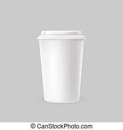 Ilustración de vectores de una taza de plástico blanco para bebidas frías y calientes.