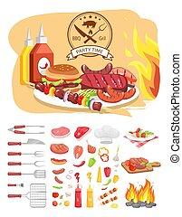 Ilustración de vectores de vectores de BBQ