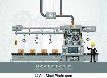Ilustración de vectores de vectores industriales de maquinaria industrial