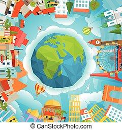 Ilustración de vectores de viaje. Alrededor del mundo