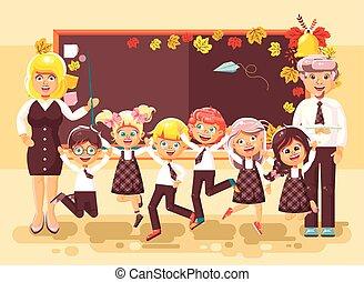 Ilustración de vectores de vuelta a dibujos animados de dibujos animados escolares estudiantes aprendices de alumnos que estudian en clase sentados en grapa con libros de texto sobre el estilo de la pizarra de fondo