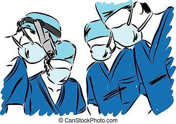 Ilustración de vectores del equipo médico
