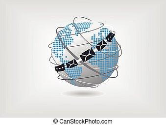 Ilustración de vectores del mundo, mapa, correo y mensajería