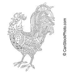 Ilustración de vectores en blanco y negro de un gallo, símbolo del año 2017. Página de colorante para adultos