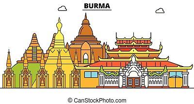 Ilustración de vectores en línea de Birmania. Un paisaje lineal de Birmania con monumentos famosos, paisajes de la ciudad, paisajes de diseño vectorial.