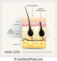 Ilustración de vectores en la estructura del cabello