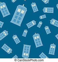 Ilustración de vectores sin daños de la cabina de policía británica iluminando el fondo azul, volando