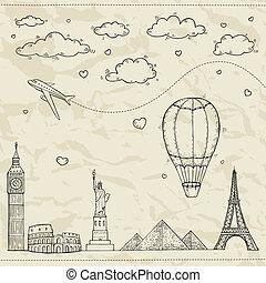 Ilustración de viajes y turismo.