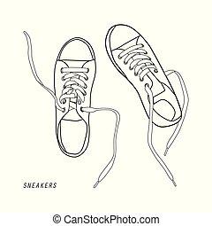 Ilustración de zapatos aislados en blanco
