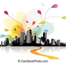Ilustración del cielo abstracto con paisaje urbano.