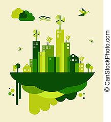 Ilustración del concepto de la ciudad verde